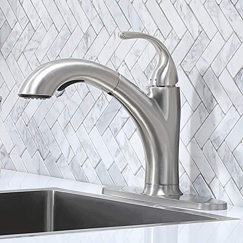 Kitchen Faucet,Kitchen Sink Faucet,Brushed Nickel Single Handle Pull Down Faucet,Modern Best Small Stainless Steel Sink Faucet,One Or Three Hole Pull Out Sprayer Kitchen Faucets with Deck Plate