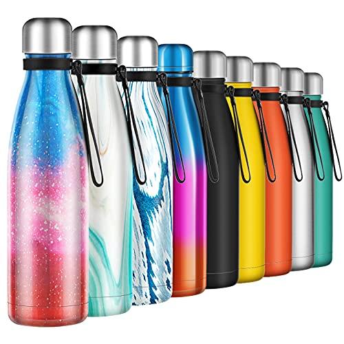 Borraccia Termica 500ml, Senza BPA, Bottiglia Acqua in Acciaio Inox Sottovuoto a Doppia...