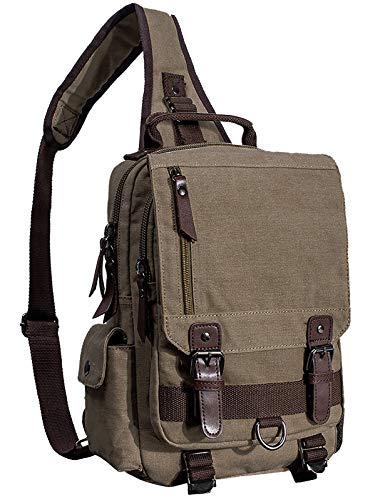 mygreen Vintage Canvas Rucksack Handtasche Schultasche für Outdoor Außflug Sport(Armeegrün)
