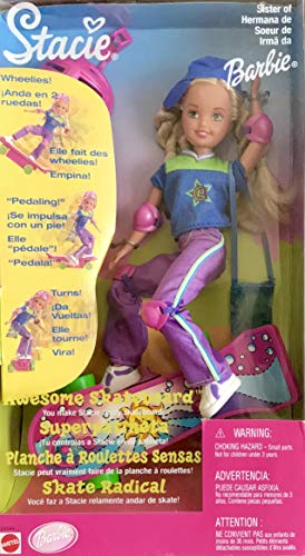 Barbie AWESOME SKATEBOARD STACIE DOLL Does 'WHEELIES' - 'PEDALING' & 'TURNS' on Her Skateboard (1999)