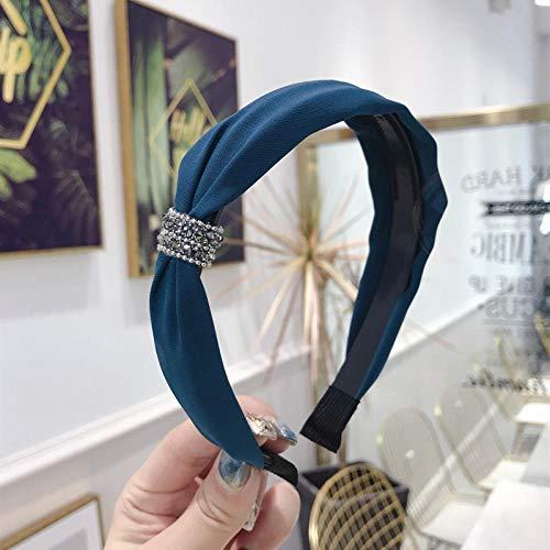 TOORY mural Diadema De Aro con Cabeza Dentada A La Moda para Mujer Diadema con Diamantes De Imitación con Dientes Turbante Anudado Fino Diadema para Mujer Accesorios para El Cabello-Azul