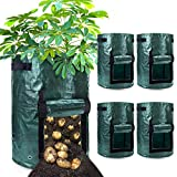 Duufin 5 Pack 10 Gallon Potato Grow Bags Planting Growing Bags Garden Potato Grow Planter Bags Potato Grower with Flap and Handles for Vegetables and Fruits Starts(35 45cm)