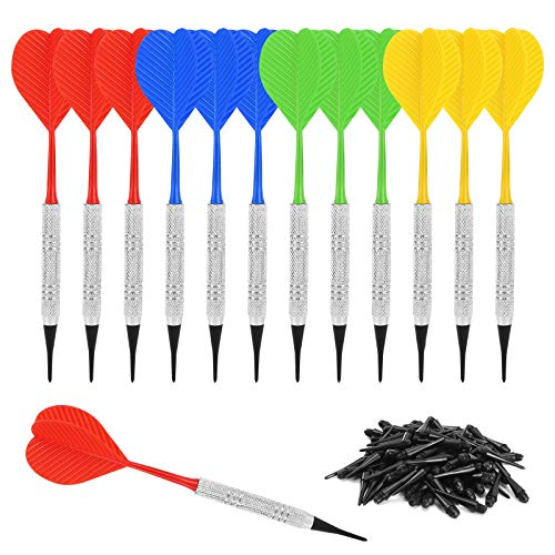 Accmor 12 Pcs Soft Tip Darts, Bar Dart, Plastic Tip Darts Set, Attach Extra 100 Black 2BA Replacement Tips, Soft Tip Darts for Electronic/Plastic Dartboard
