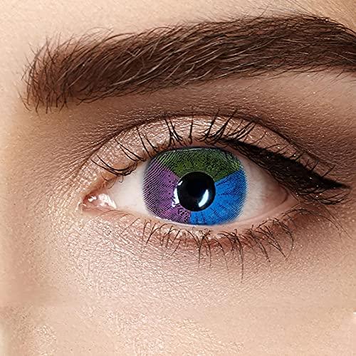 YUTUTU Farbige Grüne Kontaktlinsen   farbige Monatslinsen aus Silikon Hydrogel 1 Paar (2 Stück) ohne Stärke Sehr stark deckende und natürliche Farbige Kontaktlinsen Halloween Damen Make-up Accessoires