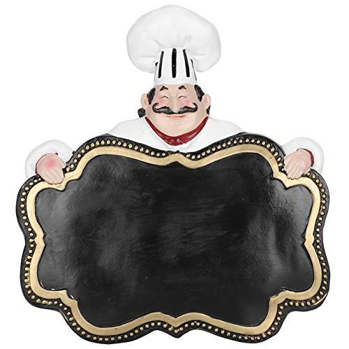 Estatua de cocinero de 9,8 pulgadas, escultura de chef con pizarra de letrero, estatua de chef de resina con letrero, figura de decoración de bienvenida de cocina