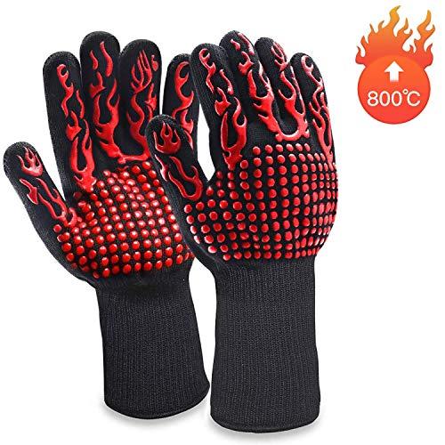 WenX grillhandschoenen, ovenhandschoenen, barbecue, lederen handschoenen, hittebestendige tot 800 graden C, universele maat, kookhandschoenen, bakhandschoenen voor BBQ koken, bakken en lassen klassiek, zwart (rood) rood