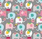 Blend Stoff, Motiv: Zirkus-Elefant, 0,5 m, 100 % Baumwolle