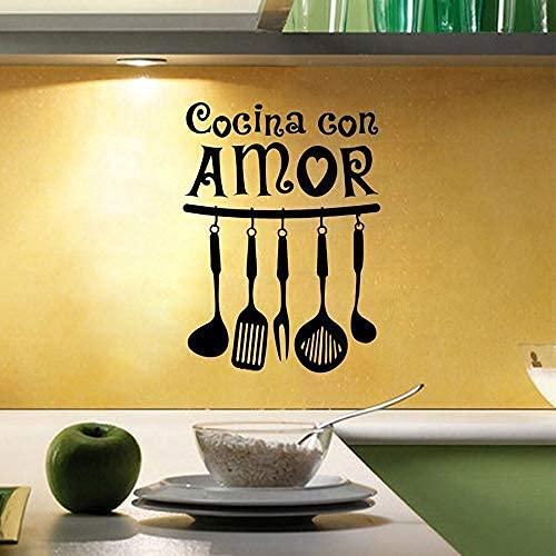Adhesivo De Vinilo Para Pared Con Amor, Cocina, Arte De Pared, Cita, Calcomanía, Pintor De Pared, Decoración De Cocina, 54X38Cm