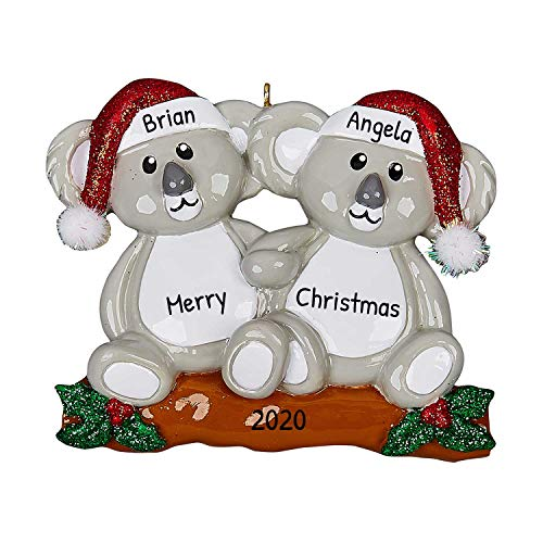 Personalized Koala Couple Christmas Tree Ornament 2020 - Cute Happy Romantic Australian Bears Hug Forever Heart Wood Lover Sibling Friend Winter Activity Tradition Holiday Year - Free Customization