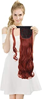 SEIKEA Wrap Around Ponytail Extension Clip on Curly Hair 24 Inch - Wine Red