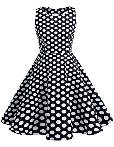 BeryLove Women's Vintage 50s Polka Dot Bowknot Retro Swing Cocktail Party Dress BlackWhiteDot Size 2XL