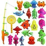 Katyma Magnetic Fishing Game 22 Piezas Set Juguetes de Pesca Juguetes de Arena para bebés Juguetes de Pesca de Peces Juguetes educativos para niños pequeños