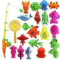 Sefod さかなつりゲーム 水遊び 釣り遊び 夏にぴったり 磁石 釣り 体験 練習 模型 マグネット 磁気釣りおもちゃ フィッシング ゲーム 魚釣り お風呂 プール 知育玩具 子供用 プレゼント 21PCS