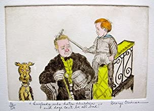 """Leos Coffers Art by George Crionas W.c. Fields"""" Hand Signed Limited Edition Color Etching. After The Original Painting or Drawing. Paper 11 Inches X 14 Inches"""