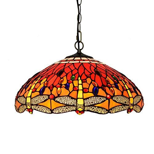YALIXING Candelabros de Color - 45 cm Estilo Tiffany Vintage carmesí de Cristal diseño Sala de Estar Comedor Vista Veranda margina Colgante luz Sombra Luces Creativas de decoración del hogar