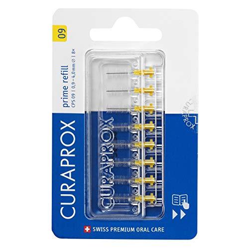 Curaprox Interdentalbürste CPS 09 prime, Refill, 8 Stück, gelb, 4 mm Wirksamkeit, Nachfüllpackung, ohne Halter