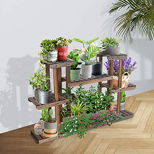 Multi Tier Wood Flower Rack Plant Stand,Wood Shelves,Indoor Outdoor Yard Garden Patio Balcony Multi-Function Storage Rack Bookshelf Rack,Display Stand Pot Shelf Planter Organizer Stand(Large)