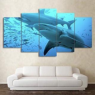 YYJHMK No Frame Canvas Wall Art Pictures Modern Home Decoration 5 Pieces Deep Blue Ocean Animal Big Shark Seaview For Livi...