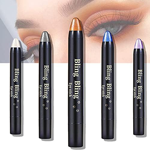 5 Colors Eyeshadow Stick Shimmer Glitter Eyeshadow Cream Eyeshadow Stick Metallic Eye Shadow Pencil Crayon Waterproof and Long Lastingeye Shadow Stick Makeup