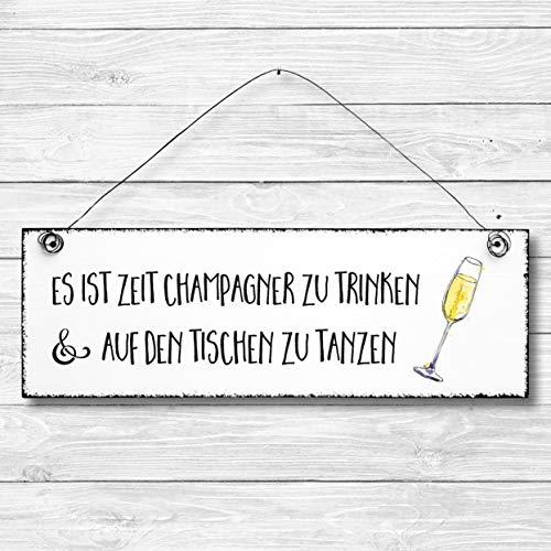 Zeit Champagner zu trinken - Bad Dekoschild Türschild Wandschild aus Holz 10x30cm - Holzdeko Holzbild Deko Schild