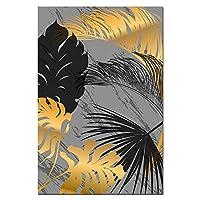 キャンバスプリントウォールアート写真ブラックゴールデンプラントリーフポスターキャンバスペインティングポスターとプリント北欧スタイルのウォールアート写真リビングルームの装飾用-B_30X40Cm_Unframed