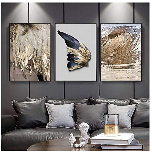 Jwqing 3 stücke Moderne Wohnzimmer Dekoration Gold Feder Abstrakte PosterFlügel Leinwand Malerei Wandbild Sofa Hintergrund (40x60 cm kein Rahmen)