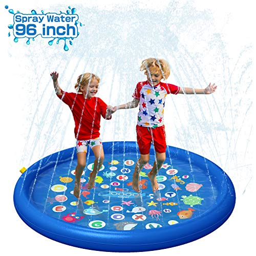 """QPAU Inflatable Splash Pad Sprinkler for Kids, Sprays Up to 96 inch, Baby Kids Pool for Learning, Inflatable Water Toys, 60"""" Outdoor Swimming Pool for Babies and Toddlers(Blue)"""