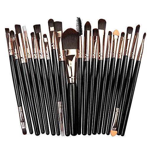 Multifonctionnel 20 Paquet De Maquillage Puff Set Fondation Pinceau De Maquillage Pour Les Yeux Brosse À Lèvres Pour Les Yeux Ensemble Tige Noire Tube De Café