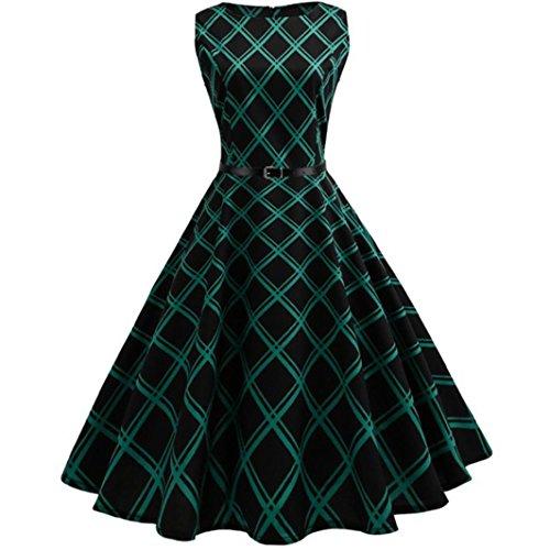 K-youth® Estampado Enrejado Vintage Hepburn Style Vestido Mujer Bohemia Tunic Swing Maxi...