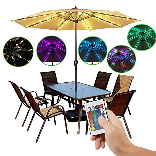 Patio Umbrella Lights Cordless Parasol String Lights with Remote Control 4 Mode 104 LED Umbrella Pole Light Battery Operated Waterproof for 9ft-10ft Umbrella Outdoor Lighting - Outdoor Decoration