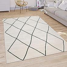 Alfombra Salón Diseño Escandinavo Rombos Pelo Corto Moderna, Color Claro Blanco, tamaño:200x290 cm
