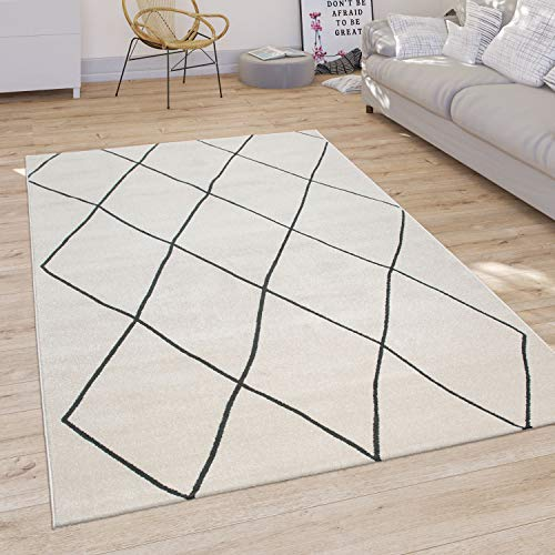 Alfombra Salón Diseño Escandinavo Rombos Pelo Corto Moderna, Color Claro Blanco, tamaño:160x230 cm