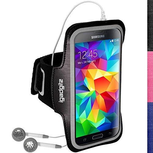 igadgitz U3131 Reflektierenden Anti-Rutsch Schwarz Sports Armband Laufen Fitness Oberarmtasche Kompatibel mit Samsung Galaxy S5 SV MINI SM-G800F