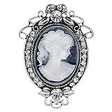ifundom Vintage Antiguo Camafeo Dama Broche Pin Mujer Cristal Strass Broche Vintage Lady Maiden Camafeo Broche Pin para Mujer Recuerdo del Día de Las Madres