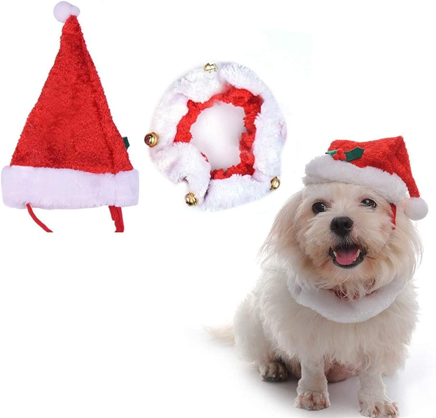 Dora Bridal Dog Christmas Hat, Puppy Holiday Festival Snata Hat with Collar, Pet Costume Collestion Accessory with Bell, Adjustable Collar for Cats Dogs Small Animals