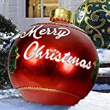 Outdoor Christmas Inflatable Decorated Ball Made of PVC,23.6 Inch Giant Merry Christmas Inflatable Balloon with Pump Outdoor Decorations Holiday Inflatables Balls Decoration