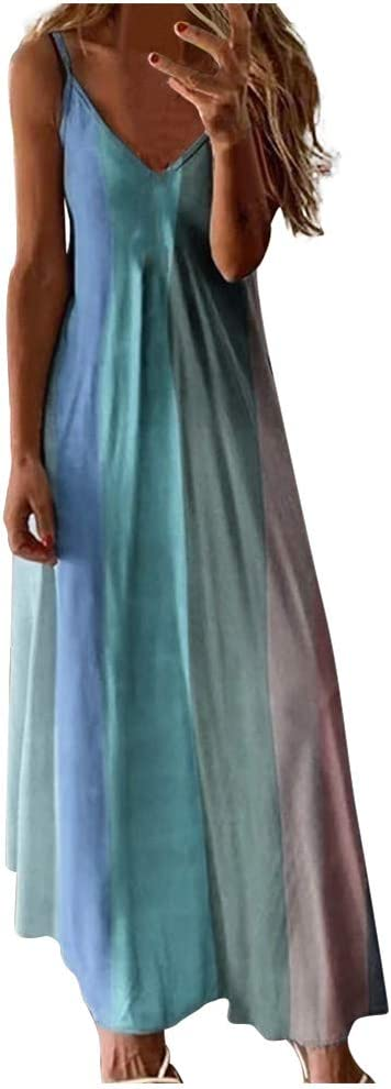 ONHUON Womens Plus New product! New type Size Long Maxi Boho V Summer Casual Max 60% OFF N Dresses