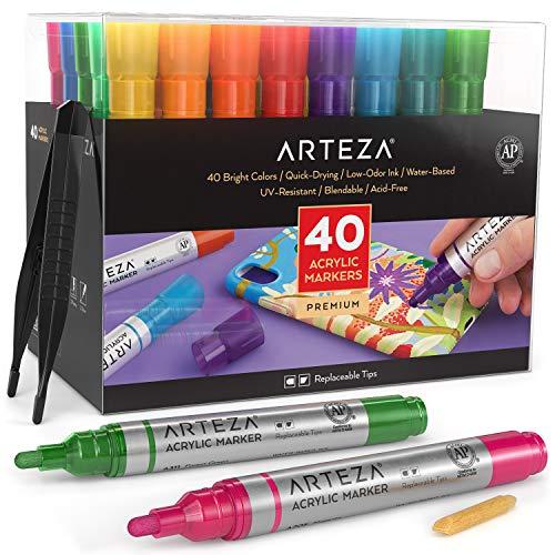Arteza Acrylstifte, Set mit 40 verschiedenen Acrylmarkern, Acrylfarbstifte mit austauschbaren Spitzen, Stifte für Steine, Leinwand, Glas, Holz und Kunststoff