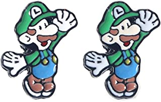 Cute Green Mario 3D Mary Character Charm Cartoon Studs Silver needle earrings for girls