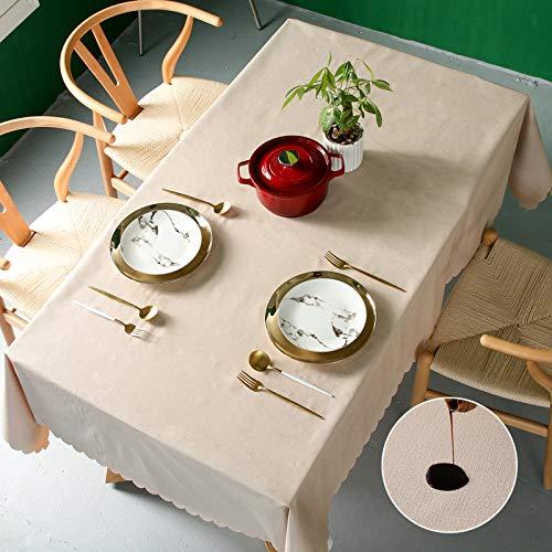 Pahajim Moderno Mantel de PVC Color Liso Mantel Impermeable Mantel Mesa Rectangular Antimanchas Tablecloths para (Beige, Rectangular/Oval,140x180cm,4-6 asientos)