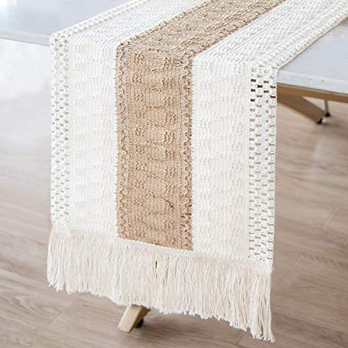 AerWo Macrame Table Runner Splicing Cotton and Burlap Table Runner, Woven Table Runner Farmhouse Style with Tassels Boho Table Runner for Wedding Bridal Shower Home Dining Table Decor, 12 x 72 Inch