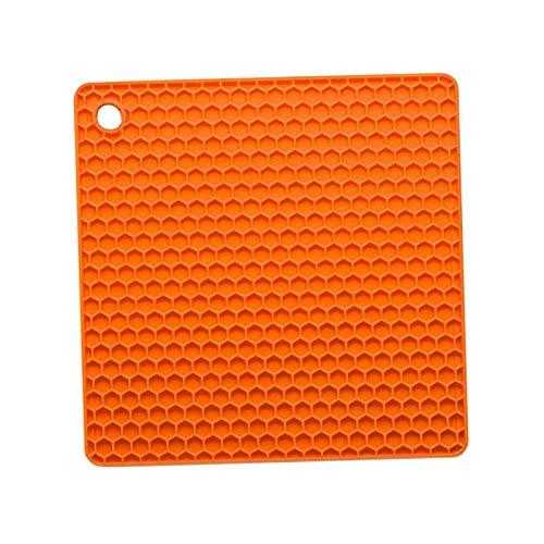 LOVIVER Tapis de Marmite en Silicone Maniques Résistantes à La Chaleur Coussin de Dessous de Plat Antidérapant pour La Cuisine et La Cuisine - Orange