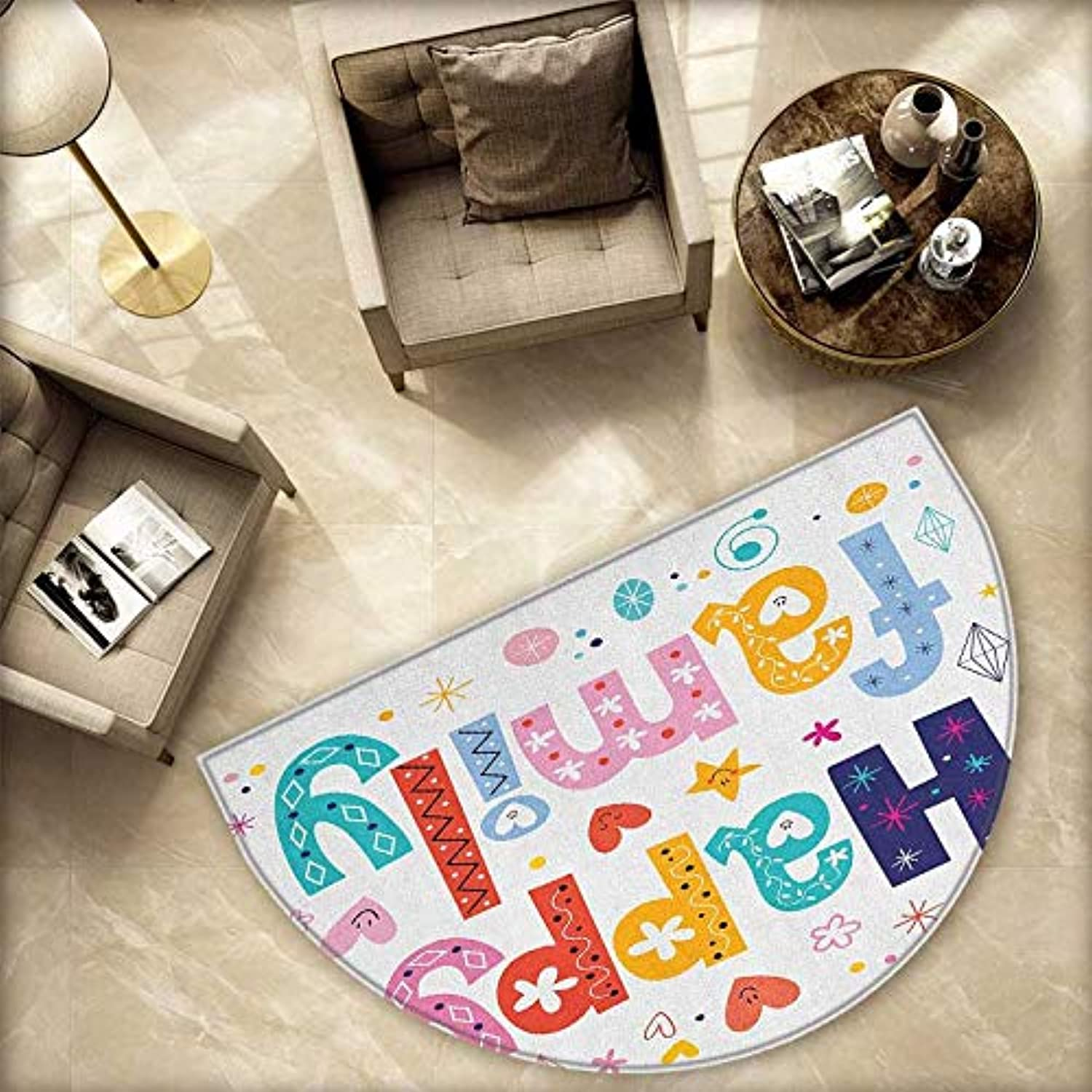 Family Semicircle Doormat Happy Family Letters with Flowers Hearts Stars Dots Circles Cartoon Like Artwork Halfmoon doormats H 78.7  xD 118.1  Multicolor