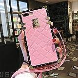 Compatible for iPhone 6 Plus/6S Plus Case,BabeMall Elegant Diamond Luxury Square Metal Decoration Corner PU Leather TPU Bumper Case + Lanyard (Small Cube/Pnik,for iPhone 6 Plus/6s Plus)
