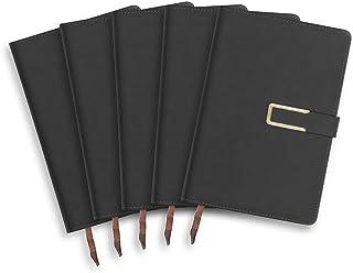 دفتر ملاحظات ولائم الاجتماعات، عبوة من 5 قطع مع مشبك مغناطيسي مقاس A5 غطاء صلب عالي الجودة من جلد نباتي، 256 صفحة/128 ورقة...