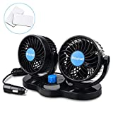 Jhua 12V Electric Car Fan 360 Degree Rotatable 2 Speed 4in Dual Head Car Auto Cooling Air Circulator Fan Quiet - Cigarette Lighter for Van SUV RV Boat Auto Vehicles Golf (Black)
