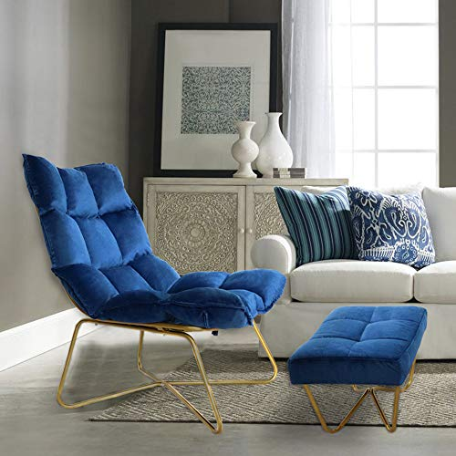 Chair and Ottoman Set, KGOPK Velvet Accent Chair with Footrest, Detachable Cushion, Comfy Upholstered Chair with Gold Metal Frame, Blue