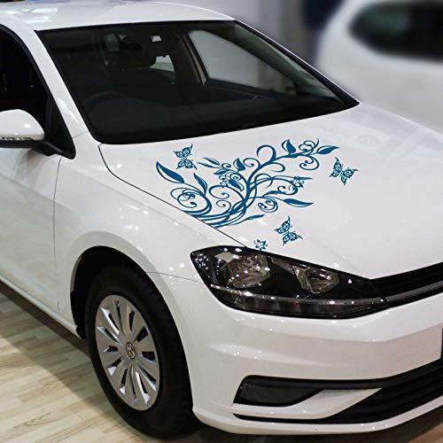 INDIGOS UG Aufkleber - Blumenranke Autoaufkleber + 3 Schmetterlinge 77cm x 50cm Signalblau - Tuning Carystyling Heckscheibe Auto