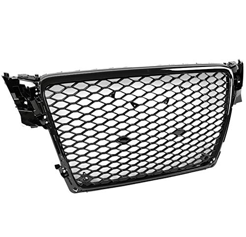 ZMAUTOPARTS For 2009-2012 Audi A4 / S4 B8 8T RS5 Style Honeycomb Mesh Hex Grille Gloss Black