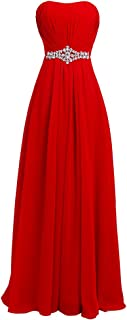 FAIRY COUPLE Women's Strapless Lace up Back Bridesmaid Evening Formal Maxi Dresses